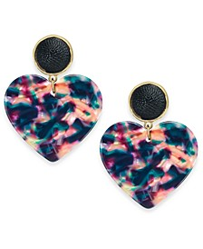 INC Gold-Tone Multicolor Heart Drop Earrings, Created For Macy's