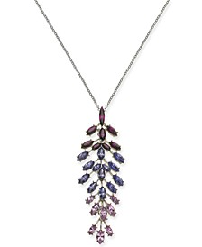 "INC Silver-Tone Marquise-Crystal Pendant Necklace, 30"" + 3"" extender, Created For Macy's"