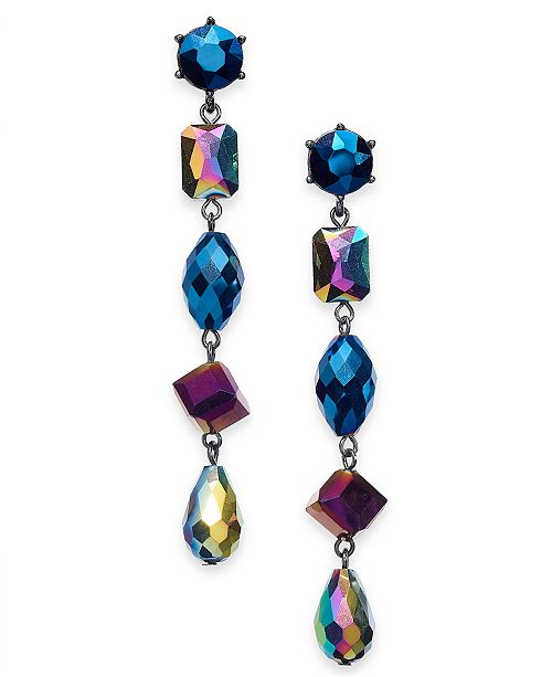 INC International Concepts INC Hematite-Tone Stone Linear Earrings, Created For Macy's