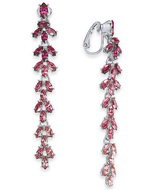 INC International Concepts INC Silver-Tone Marquise-Crystal Clip-On Linear Drop Earrings, Created For Macy's