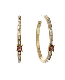 Gold Tone Hoops with Pink Stone Accent Earrings
