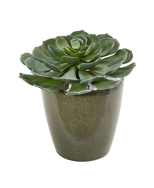 "Nearly Natural 12"" Giant Echeveria Succulent Artificial Plant in Planter"