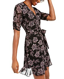 Floral Wrap Tie-Waist Dress