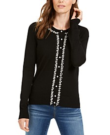 Petite Faux-Pearl-Trim Cardigan, Created For Macy's