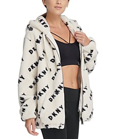 Sport Logo-Print Faux-Fur Hooded Jacket