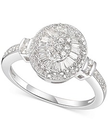 Diamond Oval Starburst Cluster Ring (1/2 ct. t.w.) in 14k White Gold