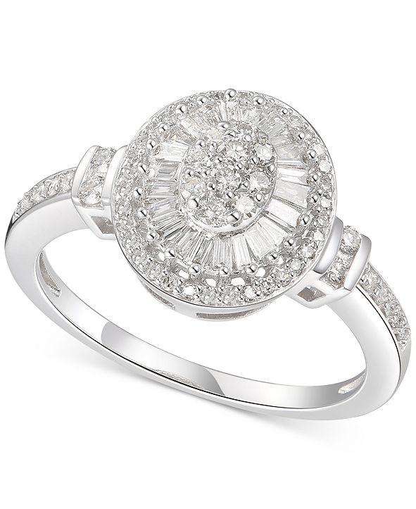 Macy's Diamond Oval Starburst Cluster Ring (1/2 ct. t.w.) in 14k White Gold