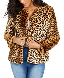 Faux-Fur Leopard-Print Jacket, Created For Macy's
