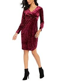 Side-Tie Velvet Surplice Dress, Created For Macy's