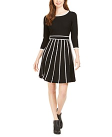 Two-Tone Fit & Flare Sweater Dress