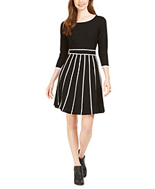 Taylor Two-Tone Fit & Flare Sweater Dress