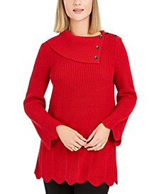 Petite Envelope-Neck Scalloped-Edge Sweater, Created For Macy's