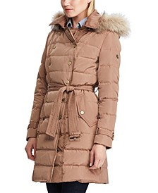 Double Breasted Belted Faux Fur Trim Puffer Coat