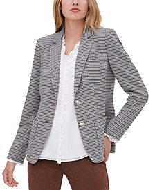 Two-Button Houndstooth Blazer