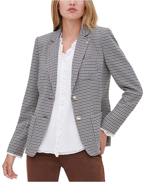 Tommy Hilfiger Two-Button Houndstooth Blazer