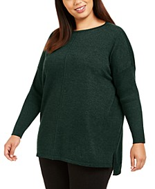 Plus Size Seam-Front Tunic Sweater, Created For Macy's