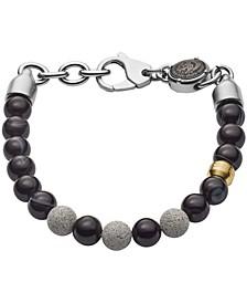 Men's Beaded Two-Tone Semi-Precious and Concrete Bracelet