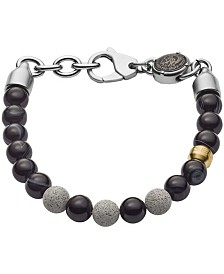 Diesel Men's Beaded Two-Tone Semi-Precious and Concrete Bracelet