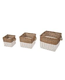 Round Willow Baskets, Set of 3