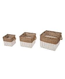 Glitzhome Round Willow Baskets, Set of 3