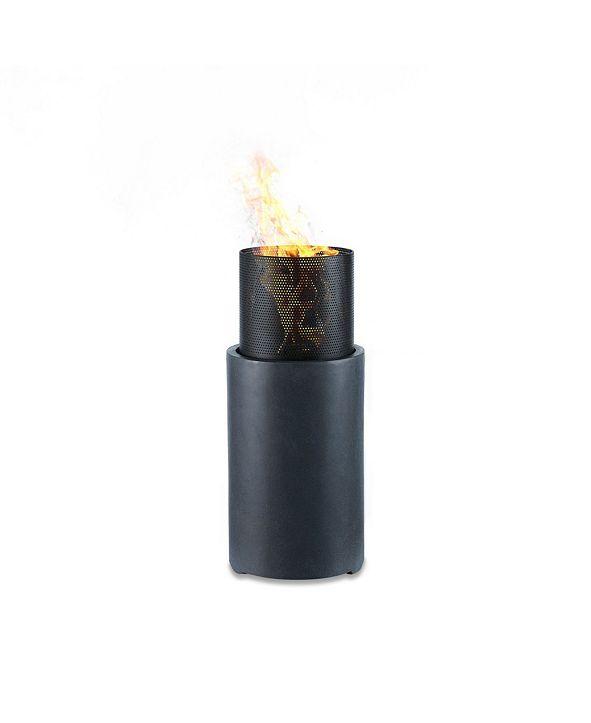 "Danya B 30"" Wood Burning Faux Stone Fire Column"