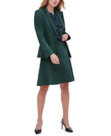 Faux-Suede Blazer, Paisley-Print Shirt & Faux-Suede Skirt