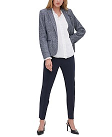 Marled Blazer, Ruffled Poet Blouse & Front-Seam Skinny Pants