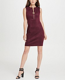 Suede Ponte Combo Logo Zipper Sheath Dress