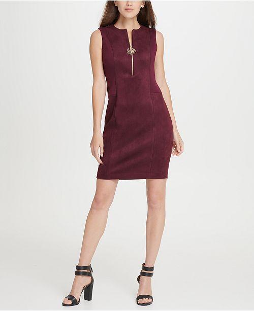DKNY Suede Ponte Combo Logo Zipper Sheath Dress