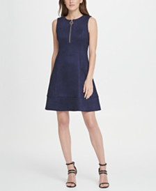 DKNY Suede Zip Fit  Flare Dress