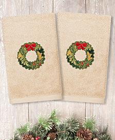 Linum Home Christmas Wreath Embroidered 100% Turkish Cotton 2-Pc. Hand Towel Set