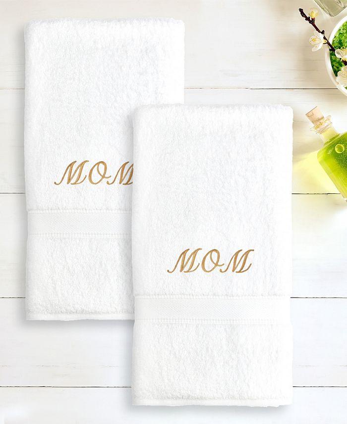 "Linum Home - 100% Turkish Cotton ""Mom"" 2-Pc. Hand Towel Set"