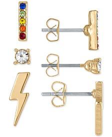 RACHEL Rachel Roy Gold-Tone 3-Pc. Set Rainbow Crystal Stud Earrings