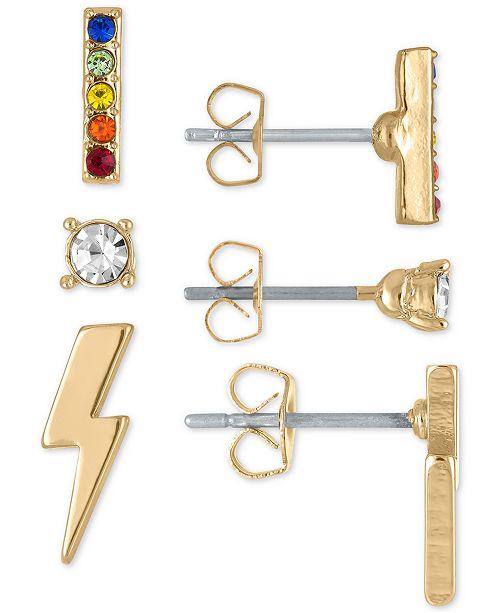 RACHEL Rachel Roy Gold-Tone Rainbow Crystal Stud Earrings 3-Pc. Gift Set