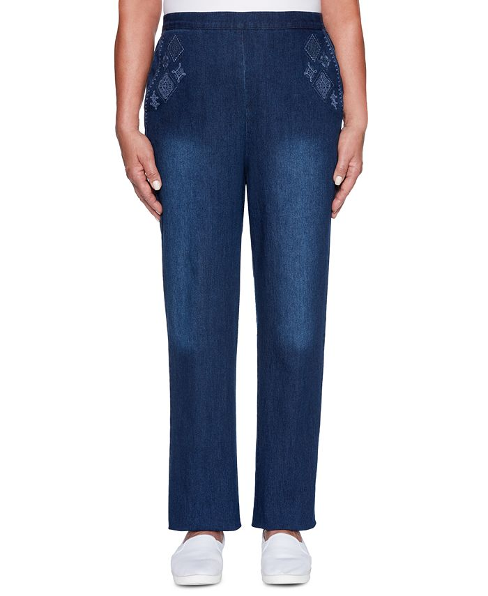 Alfred Dunner - Autumn Harvest Embroidered Pull-On Jeans