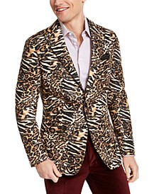 Orange Men's Slim-Fit Black/Gold Leopard-Print Dinner Jacket