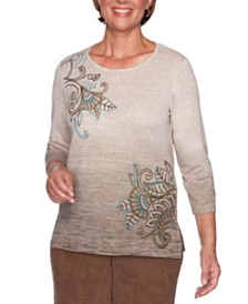 Alfred Dunner Walnut Grove Embroidered Ombré Top
