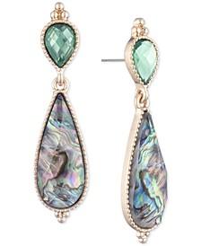 Gold-Tone Stone Double Drop Earrings