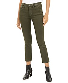 Olive Coated Straight-Leg Jeans