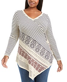 Plus Size Point-Hem Striped Sweater
