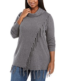 Plus Size Cowlneck Fringe Sweater