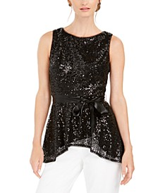 Sequined Peplum Top