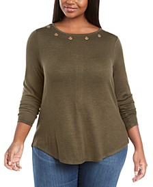 Plus Size Grommet-Trim Back-Zip Sweater