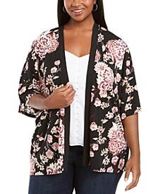 Plus Size Floral-Print Open-Front Cardigan