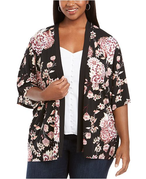 Belldini Plus Size Floral-Print Open-Front Cardigan
