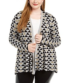 Plus Size Geo-Print Open-Front Cardigan