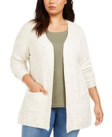 Belldini Plus Size Heathered-Knit Cardigan
