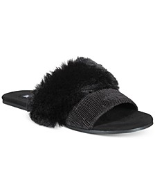 INC Women's Double-Band Faux-Fur Slippers, Created for Macy's