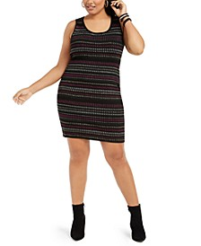 Derek Heart Trendy Plus Size Metallic-Stripe Bodycon Dress