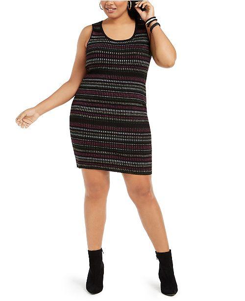 Planet Gold Derek Heart Trendy Plus Size Metallic-Stripe Bodycon Dress